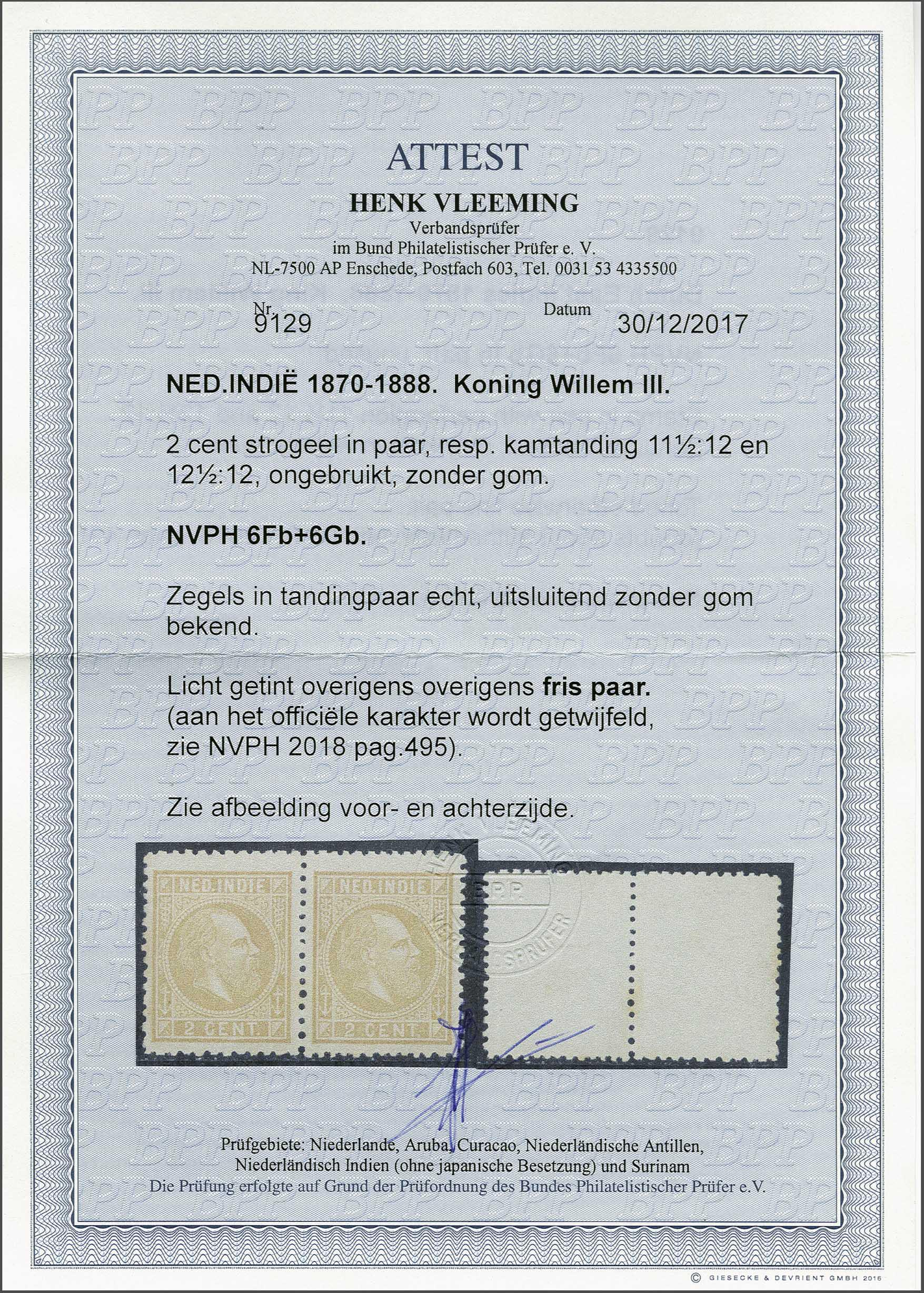 Lot 9 - Netherlands and Former Territories dutch east indies -  Corinphila veilingen Auction 236: Netherlands Colonies - The J.F. de Beaufort collection