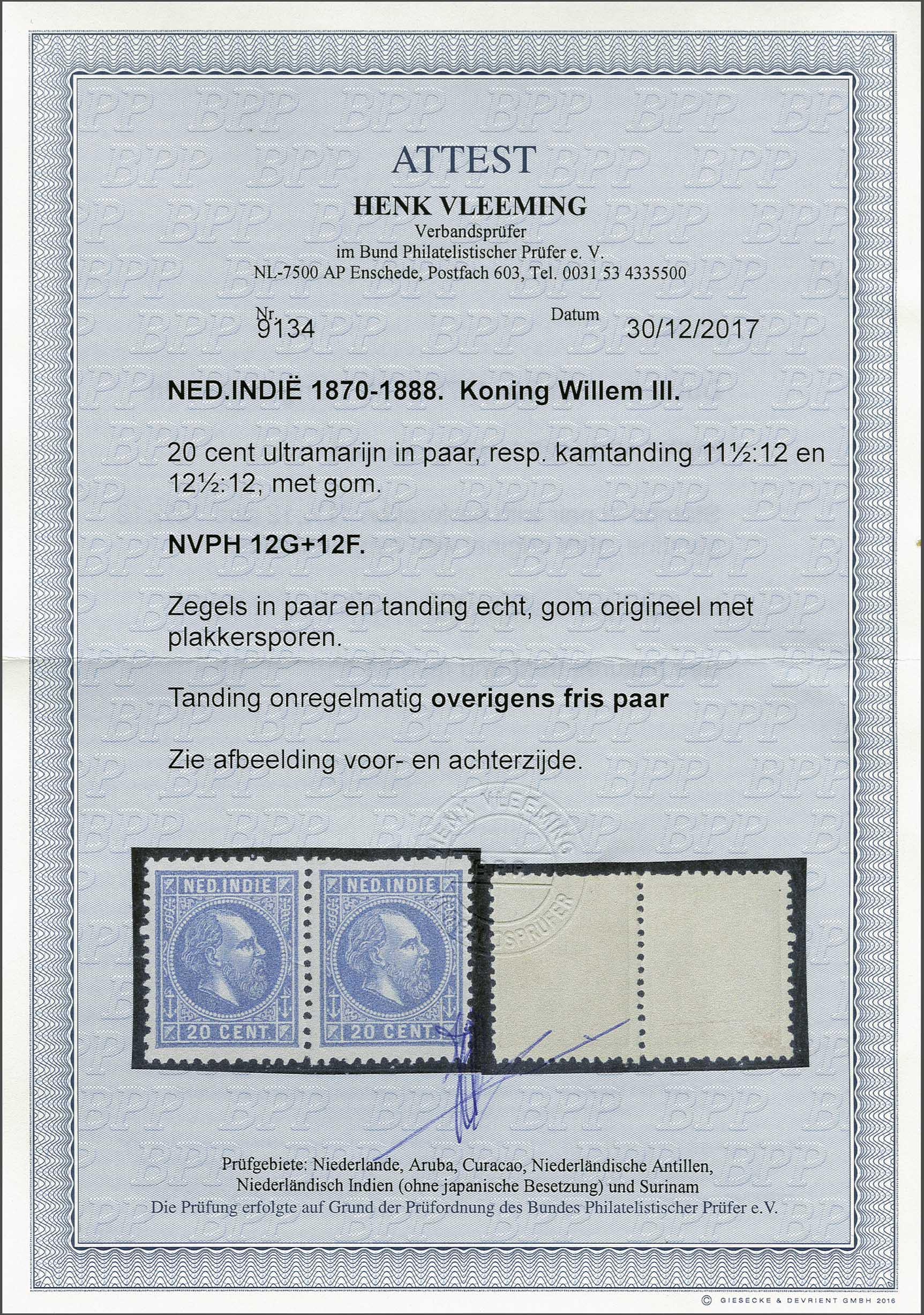 Lot 19 - Netherlands and Former Territories dutch east indies -  Corinphila veilingen Auction 236: Netherlands Colonies - The J.F. de Beaufort collection