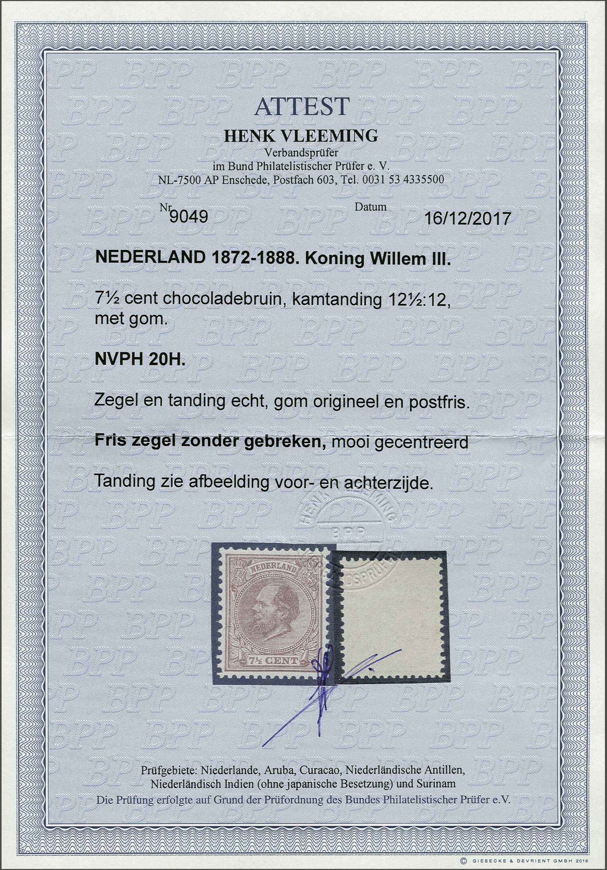 Lot 270 - Netherlands and Former Territories NL 1872 King William III -  Corinphila veilingen Auction 233: General sale