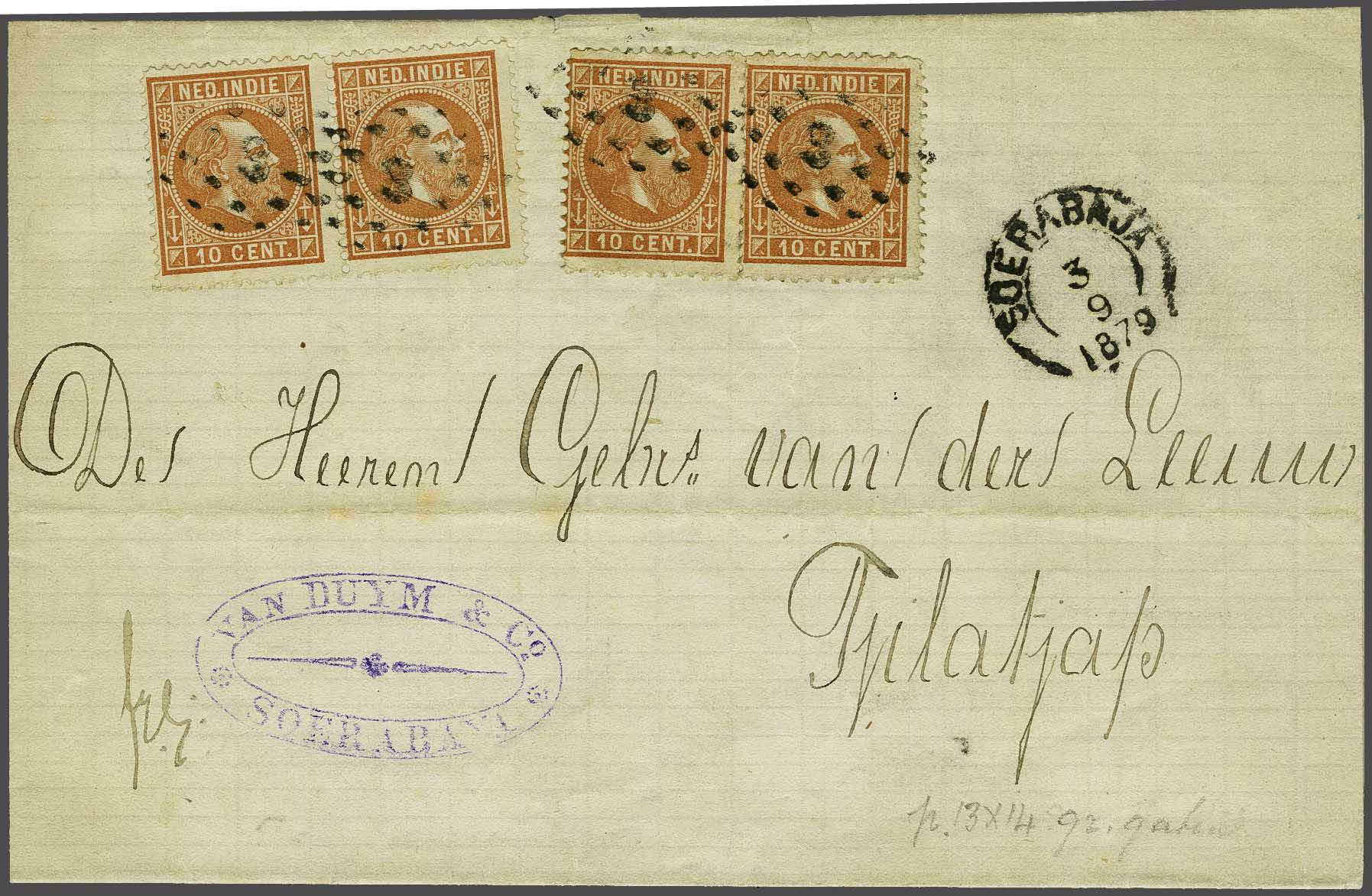 Lot 13 - Netherlands and Former Territories dutch east indies -  Corinphila veilingen Auction 236: Netherlands Colonies - The J.F. de Beaufort collection
