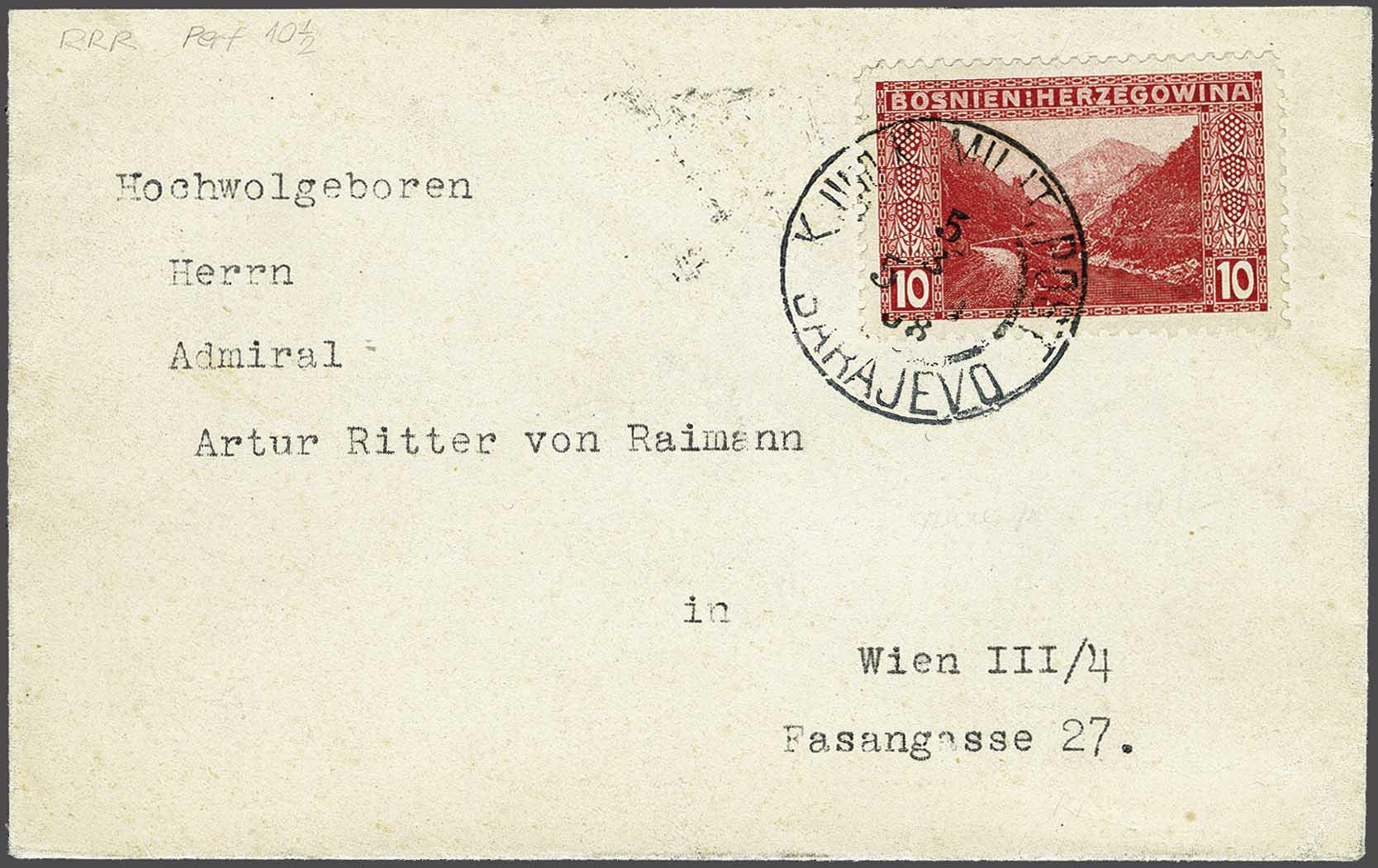 Lot 29 - Austria and former territories Bosnia and Herzegowina (Austrian) -  Corinphila Veilingen Auction 244 -Netherlands and former colonies, WW2 Postal History, Bosnia, German and British colonies, Egypt. - Day 1