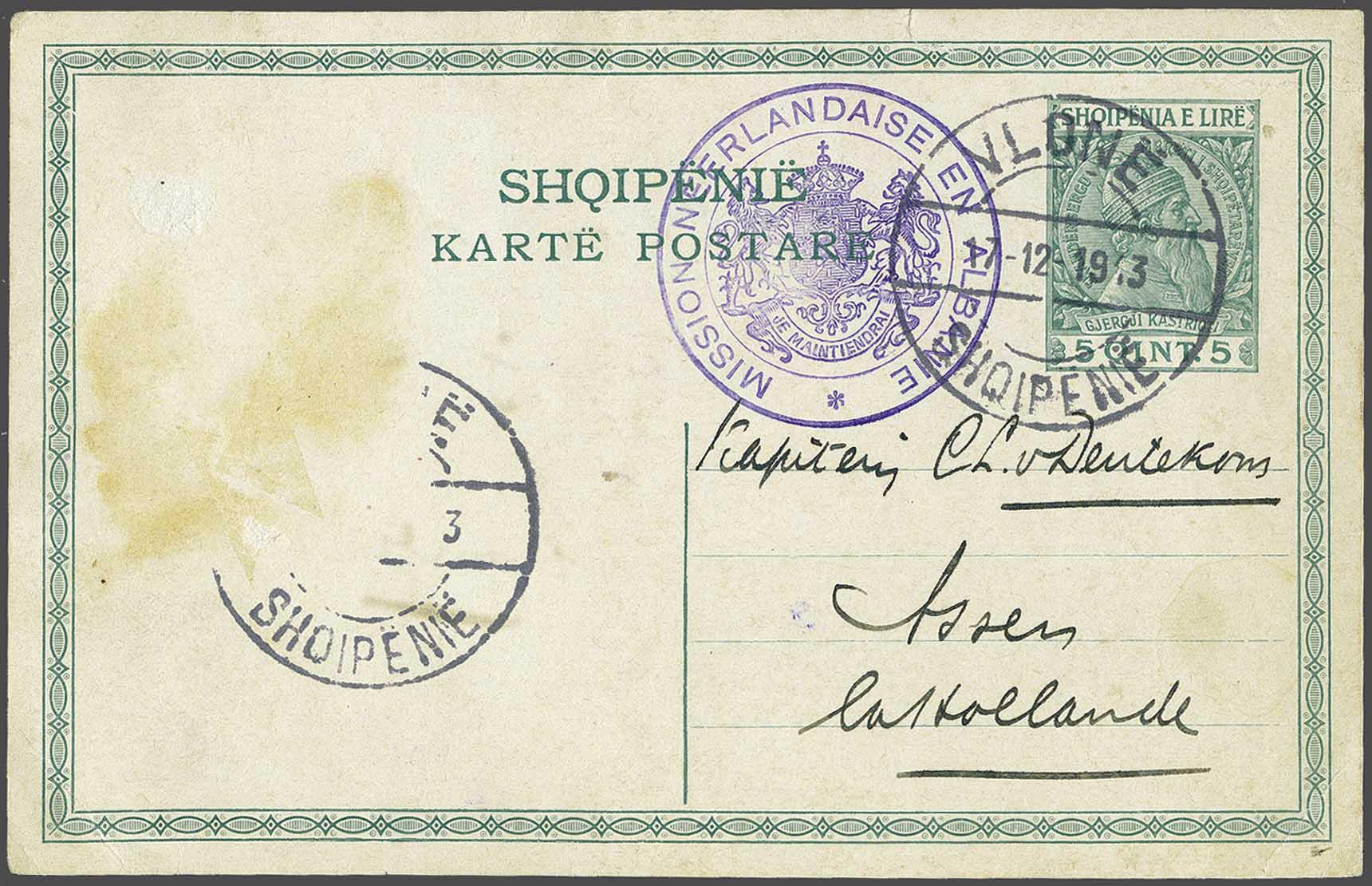 Lot 1 - Austria and former territories Albania -  Corinphila Veilingen Auction 244 -Netherlands and former colonies, WW2 Postal History, Bosnia, German and British colonies, Egypt. - Day 1