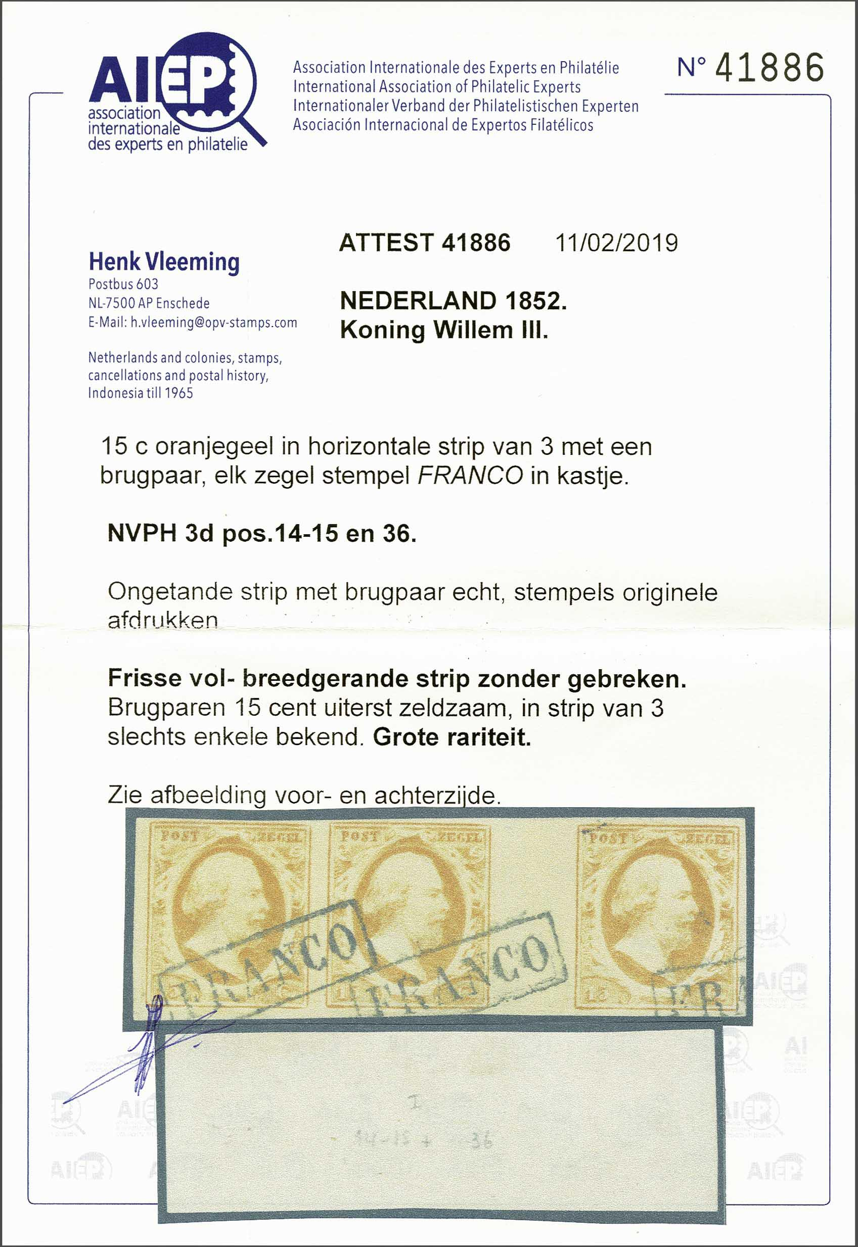 Lot 1719 - Netherlands and former colonies NL 1852 King William III -  Corinphila Veilingen Auction 245-246 Day 3 - Netherlands and former colonies - Single lots, Collections and lots, Boxes and literature