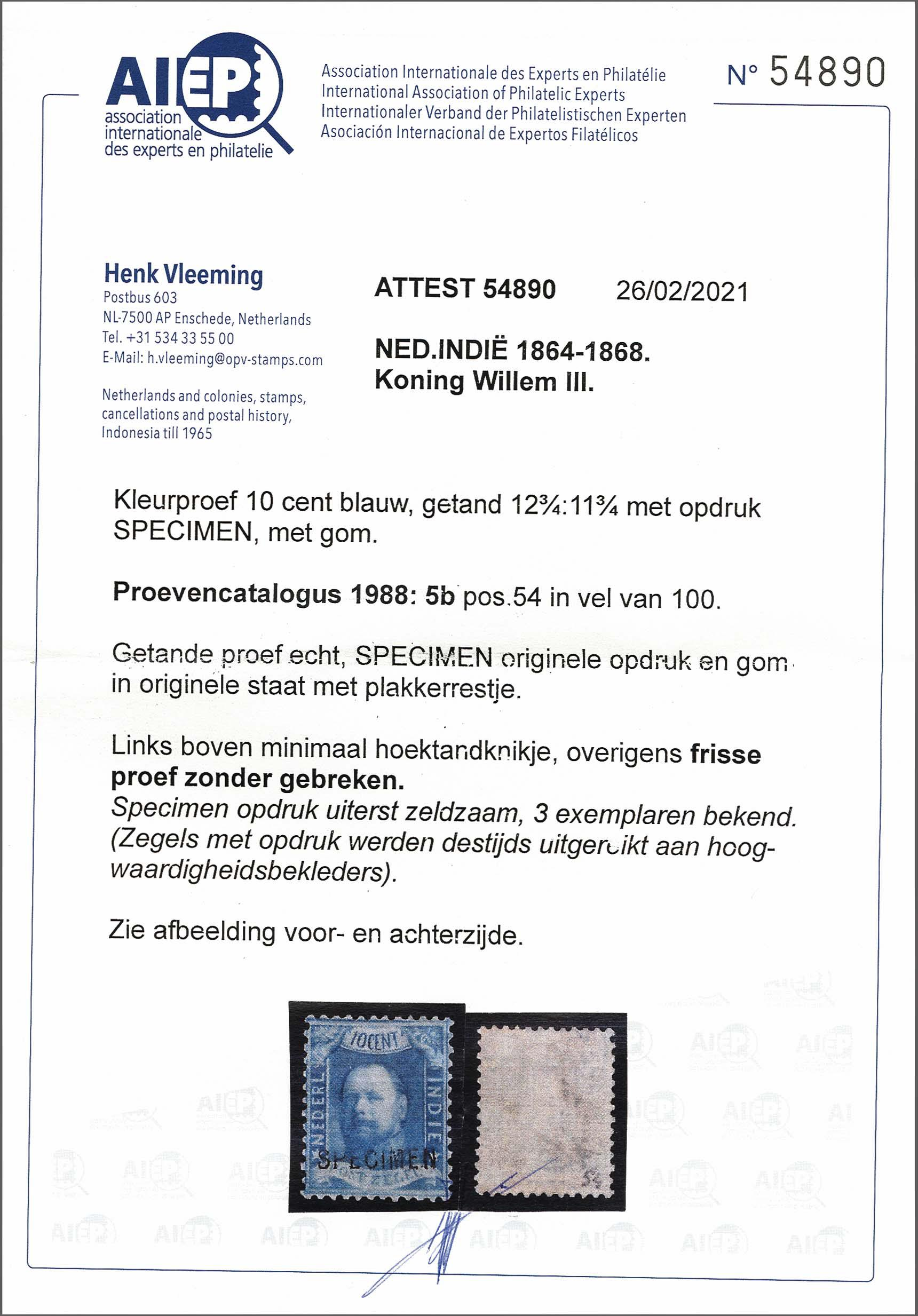 Lot 3303 - Netherlands and former colonies Netherlands Indies -  Corinphila Veilingen Auction 250-253 - Day 4 - Proofs of Netherlands former colonies