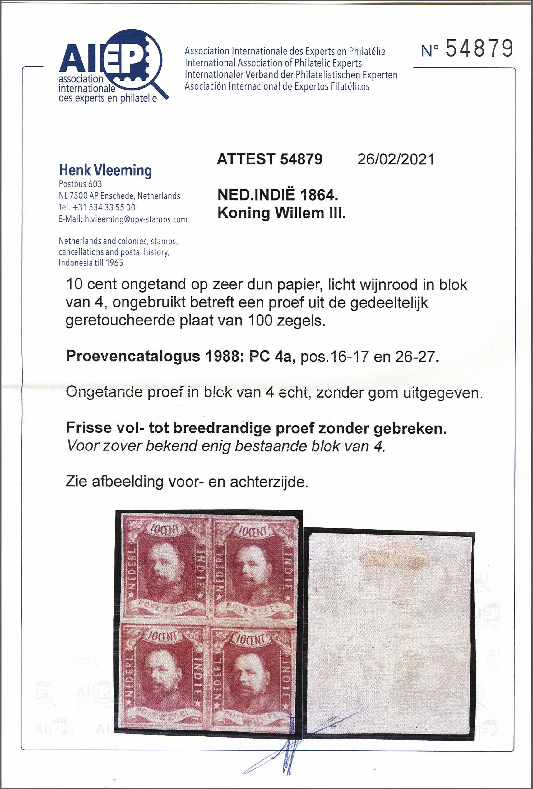 Lot 3301 - Netherlands and former colonies Netherlands Indies -  Corinphila Veilingen Auction 250-253 - Day 4 - Proofs of Netherlands former colonies