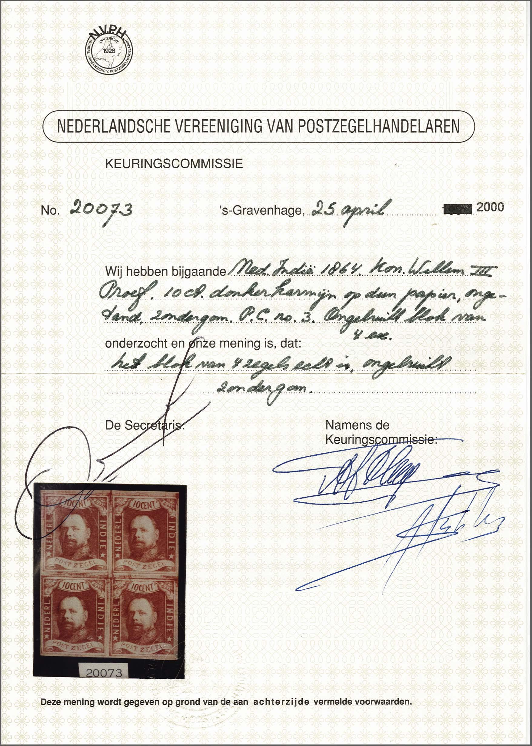 Lot 3300 - Netherlands and former colonies Netherlands Indies -  Corinphila Veilingen Auction 250-253 - Day 4 - Proofs of Netherlands former colonies