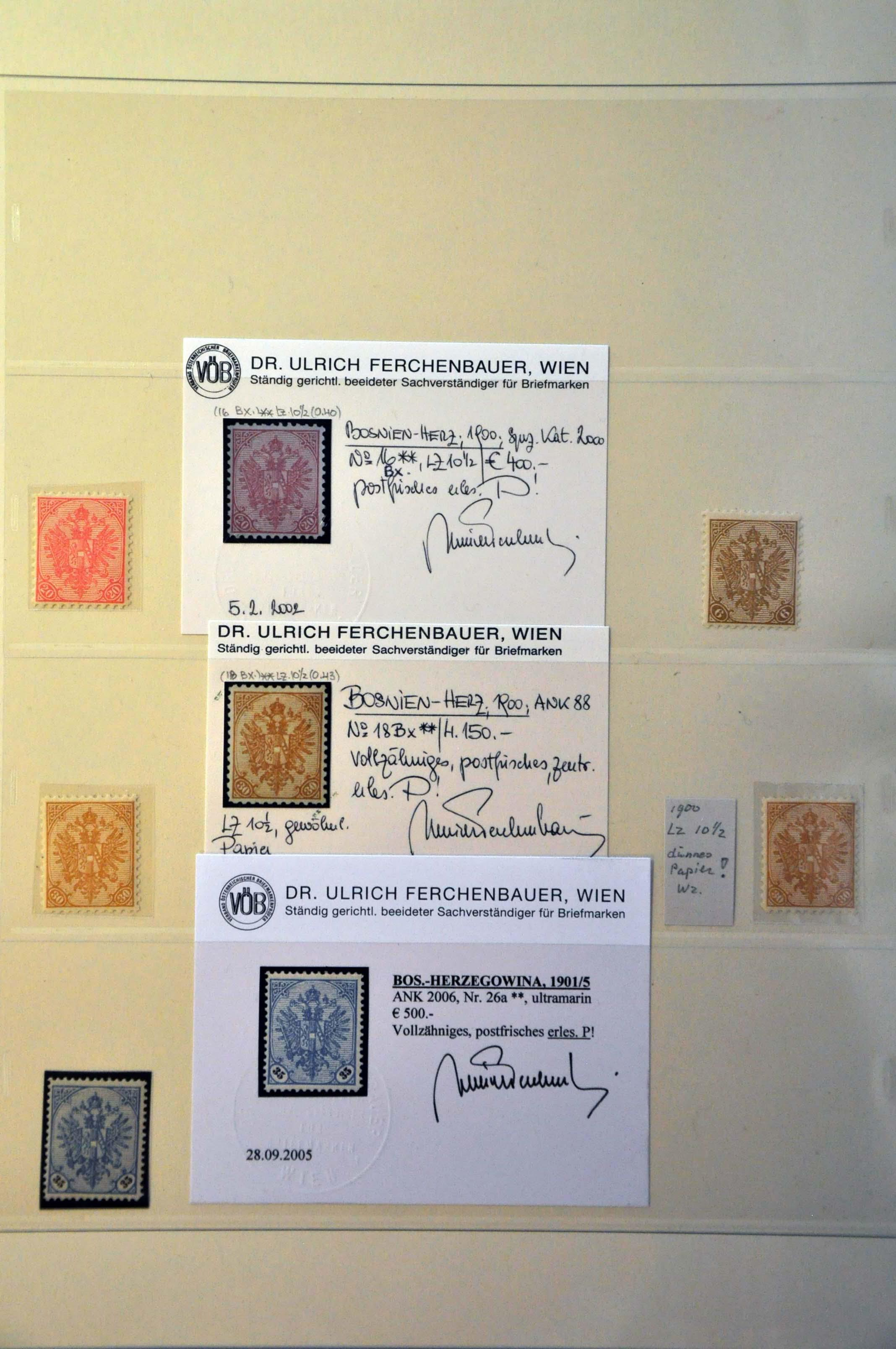 Lot 13 - Austria and former territories Bosnia and Herzegowina (Austrian) -  Corinphila Veilingen Auction 244 -Netherlands and former colonies, WW2 Postal History, Bosnia, German and British colonies, Egypt. - Day 1