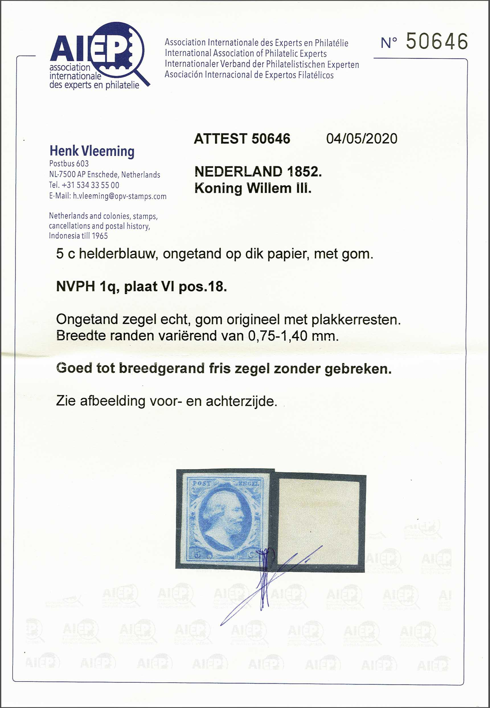 Lot 1712 - Netherlands and former colonies NL 1852 King William III -  Corinphila Veilingen Auction 245-246 Day 3 - Netherlands and former colonies - Single lots, Collections and lots, Boxes and literature
