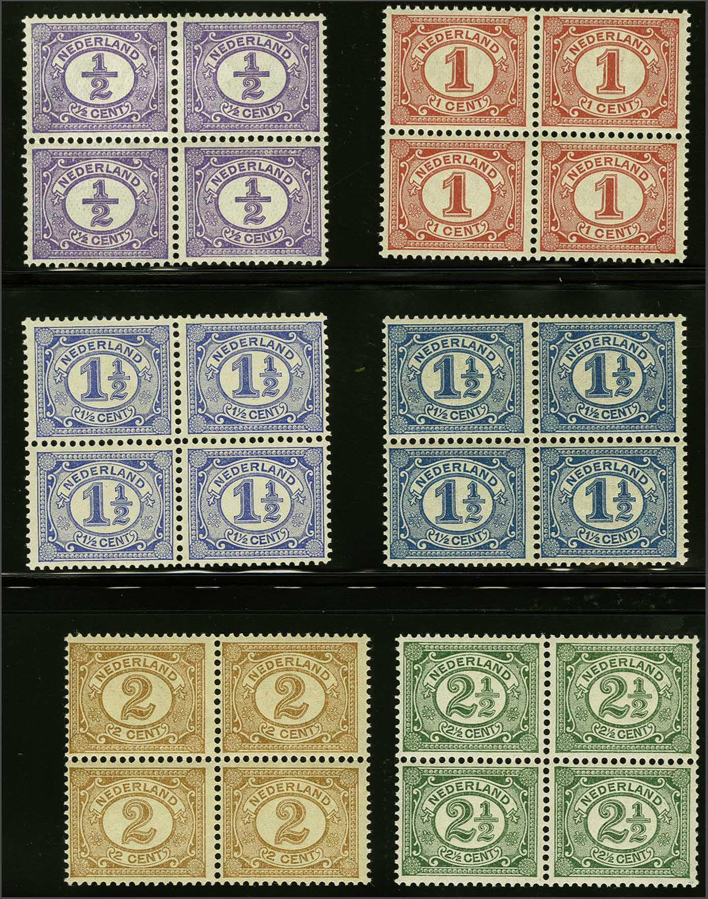 Lot 1809 - Netherlands and former colonies NL 1899 Numerals and Queen Wilhelmina -  Corinphila Veilingen Auction 245-246 Day 3 - Netherlands and former colonies - Single lots, Collections and lots, Boxes and literature