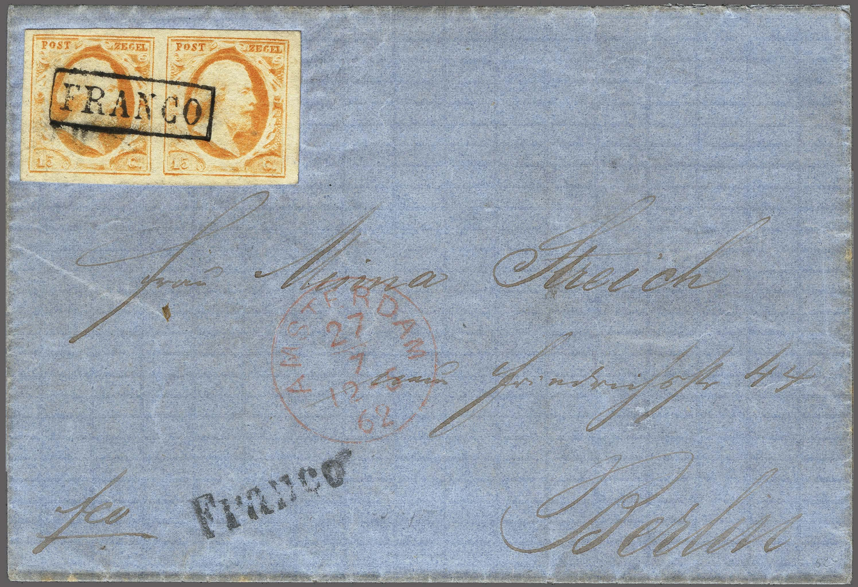 Lot 2478 - Netherlands and former colonies NL 1852 King William III -  Corinphila Veilingen Auction 250-253 - Day 3 - Netherlands and former colonies - Single lots & Picture postcards