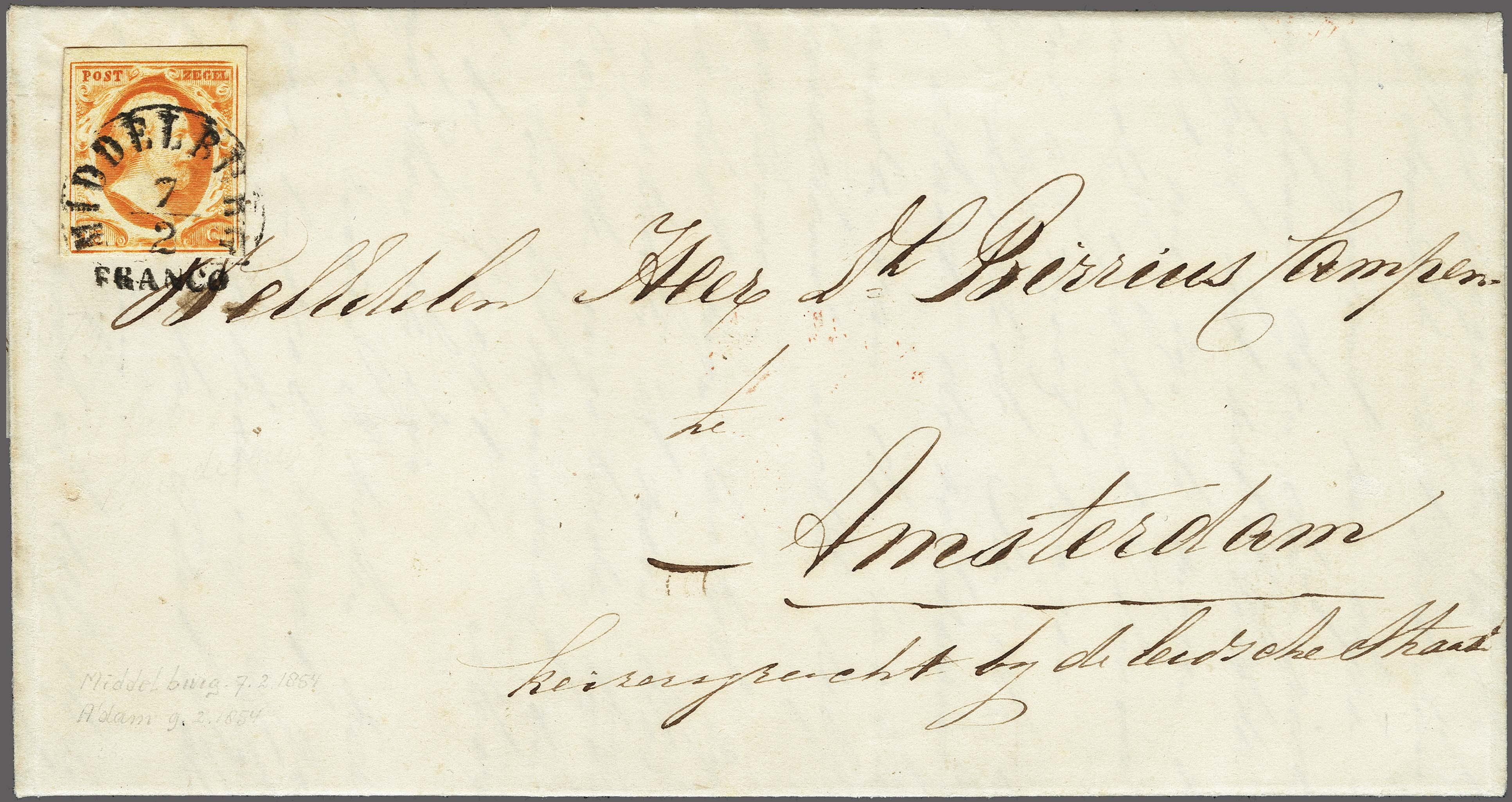 Lot 2515 - Netherlands and former colonies NL Semi-circular Cancellation -  Corinphila Veilingen Auction 250-253 - Day 3 - Netherlands and former colonies - Single lots & Picture postcards