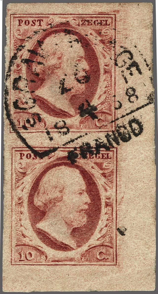 Lot 2473 - Netherlands and former colonies NL 1852 King William III -  Corinphila Veilingen Auction 250-253 - Day 3 - Netherlands and former colonies - Single lots & Picture postcards